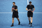 Jamie Murray of Great Britain and Bruno Soares of Brazil show their dejection during their straight sets defeat by Henri Kontinen of Finland and John Peers of Australia in their mens doubles semi final match at the Nitto ATP World Tour Finals at O2 Arena on November 18, 2017 in London, England.