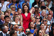 Former Chinese tennis player Li Na attends day six of the Wimbledon Lawn Tennis Championships at All England Lawn Tennis and Croquet Club on July 7, 2018 in London, England.