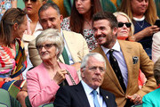 Former football player David Beckham and his mother Sandra Georgina West attend the Royal Box during Day Ten of The Championships - Wimbledon 2019 at All England Lawn Tennis and Croquet Club on July 11, 2019 in London, England.