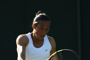 Francesca Schiavone of Italy plays a backhand during the Ladies Singles second round match against Elina Svitolina of Ukraine on day three of the Wimbledon Lawn Tennis Championships at the All England Lawn Tennis and Croquet Club on July 5, 2017 in London, England.