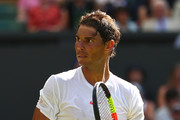 Rafael Nadal of Spain looks on during his Men's Singles first round match against Dudi Sela of Isreal on day two of the Wimbledon Lawn Tennis Championships at All England Lawn Tennis and Croquet Club on July 3, 2018 in London, England.