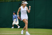 Eugenie Bouchard of Canada celebrates in her Ladies' Singles first round match against Tamara Zidansek of Slovenia during Day two of The Championships - Wimbledon 2019 at All England Lawn Tennis and Croquet Club on July 02, 2019 in London, England.