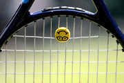 The racket of Monica Niculescu of Romania is seen during her first round match against Andrea Petkovic of Germany during Day two of The Championships - Wimbledon 2019 at All England Lawn Tennis and Croquet Club on July 02, 2019 in London, England.