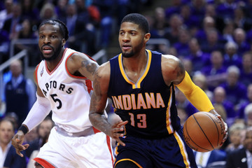 DeMarre Carroll Paul George Indiana Pacers v Toronto Raptors - Game Two