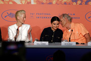 "Tilda Swinton, Selena Gomez and Bill Murray attend the press conference for ""The Dead Don't Die"" during the 72nd annual Cannes Film Festival on May 15, 2019 in Cannes, France."