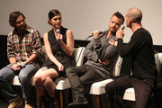 (L-R) Writer/director James Ponsoldt, actors Mary Elizabeth Winstead, Aaron Paul and moderator Dominic Patten speak onstage during Deadline Hollywood's The Contenders at the Landmark Theater on November 10, 2012 in Los Angeles, California.