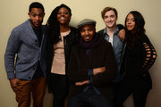 (L-R) Actors Brandon P Bell and Teyonah Parris, filmmaker Justin Simien, and actors Kyle Gallner and Tessa Thompson pose for a portrait during the 2014 Sundance Film Festival at the Getty Images Portrait Studio at the Village At The Lift on January 20, 2014 in Park City, Utah.