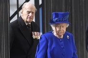 Queen Elizabeth II and Prince Philip, Duke of Edinburgh arrives for the unveiling of the new memorial to members of the armed services who served and died in the wars in Iraq and Afghanistan at Victoria Embankment Gardens on March 8, 2017 in London, England.