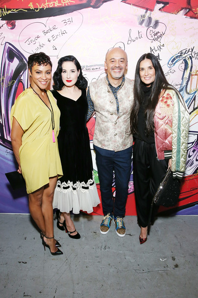Christian Louboutin and Sabyasachi Unveil Capsule Collection at Just One Eye [fashion,event,art,fashion design,magenta,street art,christian louboutin,dita von teese,carly hughes,demi moore,just one eye,l-r,california,los angeles,sabyasachi unveil capsule collection]
