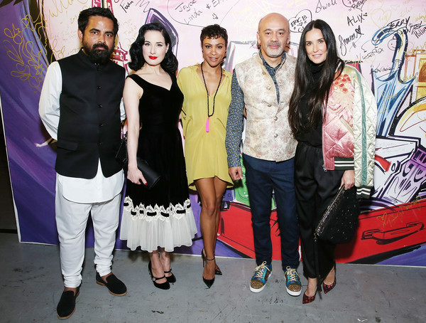 Christian Louboutin and Sabyasachi Unveil Capsule Collection at Just One Eye [fashion,event,fashion design,art,christian louboutin,sabyasachi,carly hughes,dita von teese,demi moore,just one eye,l-r,los angeles,california,sabyasachi unveil capsule collection]