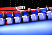 Sen. Cory Booker (D-NJ), Sen. Kamala Harris (D-CA), Sen. Bernie Sanders (I-VT), former Vice President Joe Biden, Sen. Elizabeth Warren (D-MA), and South Bend, Indiana Mayor Pete Buttigieg on stage during the Democratic Presidential Debate at Otterbein University on October 15, 2019 in Westerville, Ohio. A record 12 presidential hopefuls are participating in the debate hosted by CNN and The New York Times.