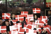 Crown Prince Frederik of Denmark (top, L) and Crown Princess Mary of Denmark (top, R) watch the play-off FIFA World Cup 2018 qualification football match of Denmark vs the Republic of Ireland on November 11, 2017 at the Telia Parken stadium in Copenhagen. / AFP PHOTO / SCANPIX DENMARK / Lars Moeller