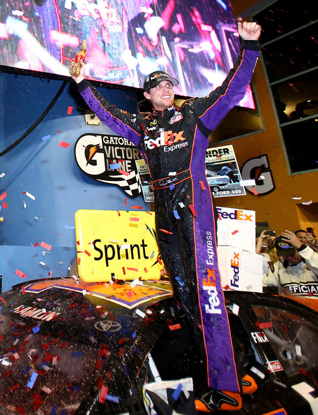 Denny Hamlin in Victory Lane at Homestead