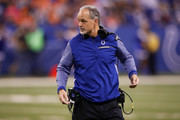 Head coach Chuck Pagano of the Indianapolis Colts looks on against the Denver Broncos during the first half at Lucas Oil Stadium on December 14, 2017 in Indianapolis, Indiana.