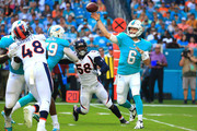 Jay Cutler #6 of the Miami Dolphins passes during the first quarter against the Denver Broncos at the Hard Rock Stadium on December 3, 2017 in Miami Gardens, Florida.
