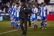 Clarence Seedorf the manager of Deportivo de La Coruna looks on at the end of the La Liga match between Deportivo La Coruna and Real Betis at Abanca Riazor Stadium on February 12, 2018 in La Coruna, Spain.