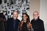 (L-R) The designers of ODEEH Joerg Ehrlich (L) and Otto Droegsler (R) with Barbara Becker attend 'Der Berliner Mode Salon' Group Presentation during the Mercedes-Benz Fashion Week Berlin Autumn/Winter 2016 at Kronprinzenpalais on January 20, 2016 in Berlin, Germany.