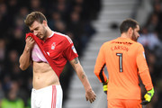 Nicklas Bendtner of Nottingham Forest looks dejected during the Sky Bet Championship match between Derby County and Nottingham Forest at iPro Stadium on December 11, 2016 in Derby, England.