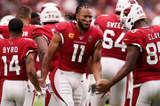 Wide receiver Larry Fitzgerald #11 of the Arizona Cardinals is introduced prior to their game against the Detroit Lions at State Farm Stadium on September 08, 2019 in Glendale, Arizona.