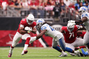 Running back David Johnson #31 of the Arizona Cardinals rushes against linebacker Jalen Reeves-Maybin #44 of the Detroit Lions in the first quarter of the game at State Farm Stadium on September 08, 2019 in Glendale, Arizona.