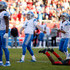 Matt Prater Photos - Kicker Matt Prater #5 of the Detroit Lions joins punter Sam Martin #6 and tight end Michael Roberts #80 as they watch the path of his 46-yard game-winning field goal in front of cornerback Ryan Smith #29 of the Tampa Bay Buccaneers during the fourth quarter of an NFL football game on December 10, 2017 at Raymond James Stadium in Tampa, Florida. - Detroit Lions v Tampa Bay Buccaneers