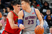 Blake Griffin #23 of the Detroit Pistons looks to drive against Ersan Ilyasova #7 of the Atlanta Hawks at Philips Arena on February 11, 2018 in Atlanta, Georgia.  NOTE TO USER: User expressly acknowledges and agrees that, by downloading and or using this photograph, User is consenting to the terms and conditions of the Getty Images License Agreement.
