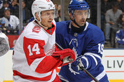 Gustav Nyquist #14 of the Detroit Red Wings skates against Tomas Plekanec #19 of the Toronto Maple Leafs during an NHL game at the Air Canada Centre on March 24, 2018 in Toronto, Ontario, Canada. The Maple Leafs defeated the Red Wings 4-3.