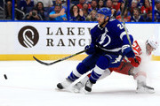 Ryan Callahan #24 of the Tampa Bay Lightning and Frans Nielsen #51 of the Detroit Red Wings fight for the puck during a game  at Amalie Arena on October 18, 2018 in Tampa, Florida.