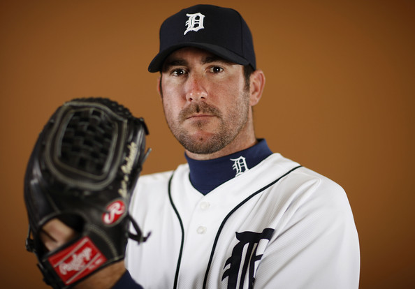 Justin Verlander #35 of the Detroit Tigers poses during photo day at the Detroit Tigers Spring Training facility on February 27, 2010 in Lakeland, Florida.