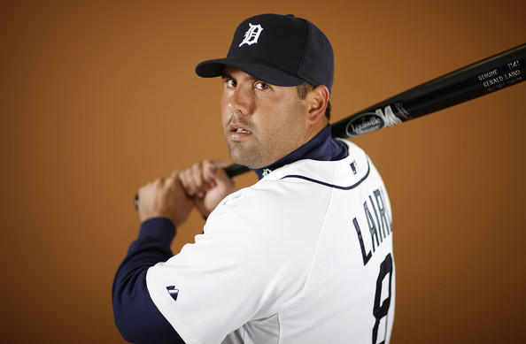 Gerald Laird #8 of the Detroit Tigers poses during photo day at the Detroit Tigers Spring Training facility on February 27, 2010 in Lakeland, Florida.