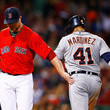 Jon Lester and Victor Martinez Photos