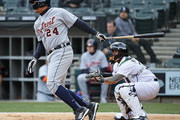 Miguel Cabrera #24 of the Detroit Tigers bats against the Chicago White Sox during the Opening Day home game at Guaranteed Rate Field on April 5, 2018 in Chicago, Illinois.