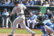 Miguel Cabrera #24 of the Detroit Tigers singles in the sixth inning against the Kansas City Royals at Kauffman Stadium on May 3, 2018 in Kansas City, Missouri.