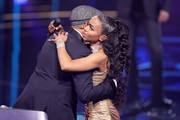 """Xavier Naidoo and Alicia Awa Beissert during the first event show of the tv competition """"Deutschland sucht den Superstar"""" (DSDS) at Coloneum on April 6, 2019 in Cologne, Germany. For Season 16, RTL and Dieter Bohlen engaged German soul singer Xavier Naidoo, Season 8's winner Pietro Lombardi and professional dancer Oana Nechiti to be a judge on the show."""