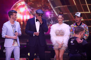 """Lukas Kepser, Xavier Naidoo, Oana Nechiti and Pietro Lombardi during the first event show of the tv competition """"Deutschland sucht den Superstar"""" (DSDS) at Coloneum on April 6, 2019 in Cologne, Germany. For Season 16, RTL and Dieter Bohlen engaged German soul singer Xavier Naidoo, Season 8's winner Pietro Lombardi and professional dancer Oana Nechiti to be a judge on the show."""
