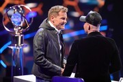 """Juror Dieter Bohlen and Pietro Lombardi are seen during the season 16 finals of the tv competition show """"Deutschland sucht den Superstar"""" (DSDS) at Coloneum on April 27, 2019 in Cologne, Germany."""