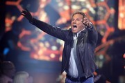"""Juror Dieter Bohlen reacts during the season 16 finals of the tv competition show """"Deutschland sucht den Superstar"""" (DSDS) at Coloneum on April 27, 2019 in Cologne, Germany."""