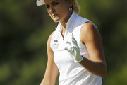Lexi Thompson reacts on the second hole during the third round of the Diamond Resorts Tournament of Champions at Tranquilo Golf Course at Four Seasons Golf and Sports Club Orlando on January 18, 2020 in Lake Buena Vista, Florida.