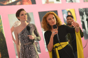 Designer Diane von Furstenberg (R) and model Coca Rocha, wearing Diane Von Furstenberg, attend Diane Von Furstenberg's Journey of A Dress Exhibition Opening Celebration at May Company Building at LACMA West on January 10, 2014 in Los Angeles, California.