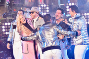 Joey McIntyre, Jenny McCarthy, Donnie Wahlberg, Danny Wood, Jonathan Knight and Jordan Knight on stage at With Ryan Seacrest 2019 on December 31, 2018 in New York City.