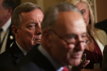 Dick Durbin Senate Lawmakers Speak to the Media After Their Weekly Policy Luncheons