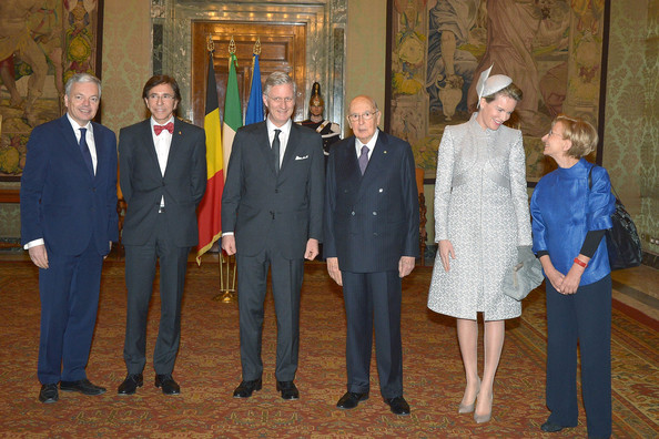 The Belgian Royal Family Meet Italian President Giorgio Napolitano [social group,event,suit,giorgio napolitano,emma bonino,philippe of belgium,mathilde of belgium,didier reynders,elio di rupo,right,italian,belgian,belgian royal family meet]