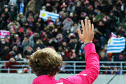 Diego Forlan attends a news conference on joining Cerezo Osaka of J. League at Nagai Stadium on February 12, 2014 in Osaka, Japan.