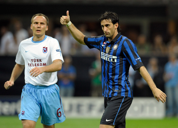 Diego Milito Diego Milito of FC Inter Milan gestures during the UEFA Champions League group B match between FC Internazionale Milano and Trabzonspor As at Giuseppe Meazza Stadium on September 14, 2011 in Milan, Italy.
