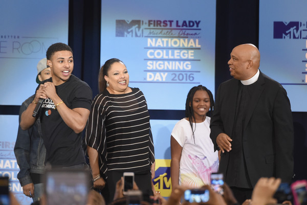 3rd Annual College Signing Day - Show [event,youth,community,adaptation,news conference,tourism,world,team,l-r,initiative,event,college signing day,3rd annual college signing day,michelle obama,justine simmons,diggy simmons,people,russell simmons ii]