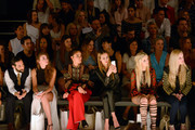 Massimo Sinato, a guest, Janina Uhse, Alessandra Meyer-Woelden, Anna Hiltrop and Mirja du Mont attend the Dimitri show during the Mercedes-Benz Fashion Week Berlin Spring/Summer 2017 at Erika Hess Eisstadion on June 30, 2016 in Berlin, Germany.