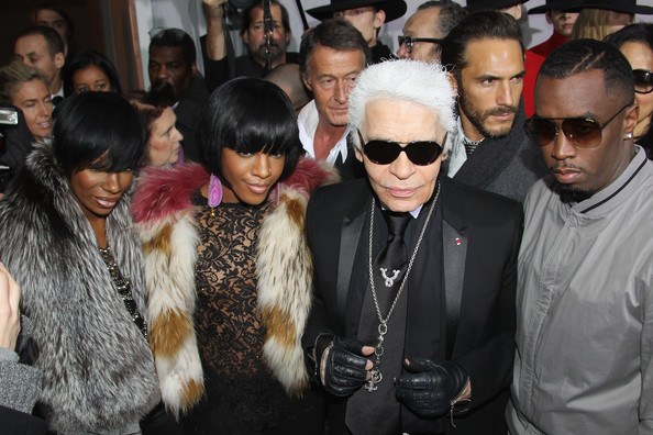L-R Kalenna, Dawn Richards, Karl Lagerfeld and P Diddy attend the Dior Homme fashion show as part of Paris Menswear Fashion Week Fall/Winter 2011-2012 on January 22, 2011 in Paris, France.