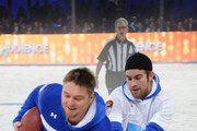 Jon Ritchie and Chace Crawford participate in the DirecTV Beach Bowl at Pier 40 on February 1, 2014 in New York City.