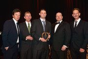 (L-R) Boston's own Mark Wahlberg, Boston Police Commissioner William Evans, Officer John Moynihan, Richard Parry, and Director Peter Berg attend the 3rd annual Boston Police Department Foundation Gala to present THE HERO'S AWARD to BPD Officer John Moynihan on March 5, 2016 in Boston, Massachusetts.