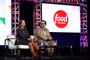 Alyson Hannigan and Nacho Aguirre of 'Girl Scout Cookie Championship' speak onstage during the Food Network portion of the Discovery, Inc. TCA Winter Panel 2020 at The Langham Huntington, Pasadena on January 16, 2020 in Pasadena, California.